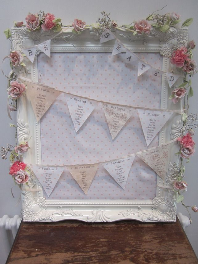 bunting table plan with a picture frame and flowers