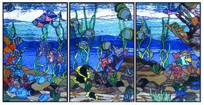 stained glass tropical panels   tropical bath the tropical bath panels are designed for a master bath ...