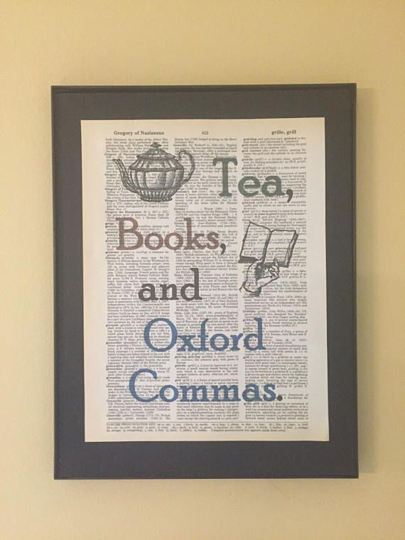 Tea Books and Oxford Commas Gifts for readers Dictionary