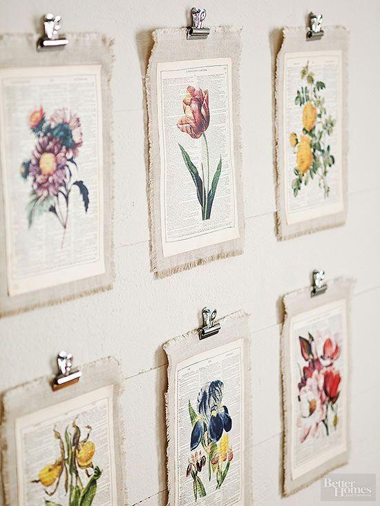 Fai da te decorazione della parete |  Stampa immagini botaniche su vecchie pagine del libro e poi montare su pezzi di biancheria da Alma