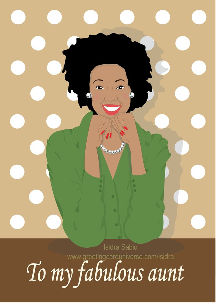 Birthday card for our fabulous Aunt... because we all have one in our families! Elegant black (African American) woman with natural hair wearing a green blouse and pearl earrings and necklace. Birthday Card for Aunt, Afrocentric Card, African American Card.Original illustration by Isidra Sabio. for more www.greetingcarduniverse.com/isidra