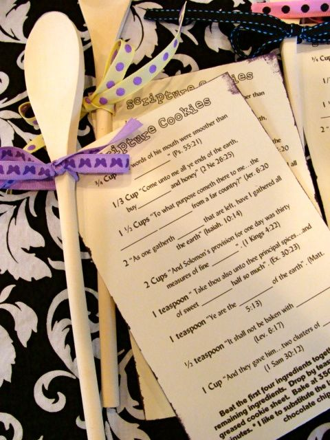 Scripture Cookies: cookies made by using verses in the Bible containing the ingredients :) Super cute!