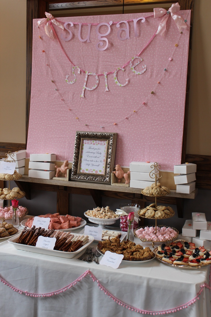 Baby shower dessert table sugar and spice baby shower for Decoration sweet table