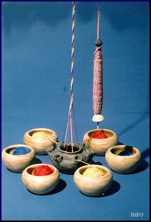 Spindel, zwei Spinnwirtel, Tüllengefäß Pfakofen, Kr. Regensburg, Grab 74 Letztes Drittel 6. Jahrhundert Knochen, Ton