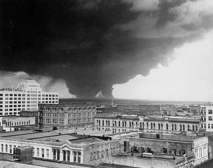 This is where I grew up. The sad & tragic Texas City explosion of 1947, photo shot from Galveston....many injured/lost lives.....this explosion blew out windows miles and miles away....