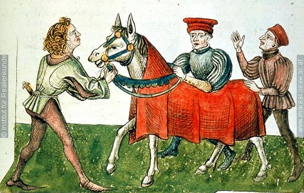 Konzil von Konstanz  Streit um Pferd   Dieses Bild: 006701     1465 ; 1475 ; Wien ; Österreich ; Wien ; Österreichische Nationalbibliothek ; cod. 3044 ; fol. 37r