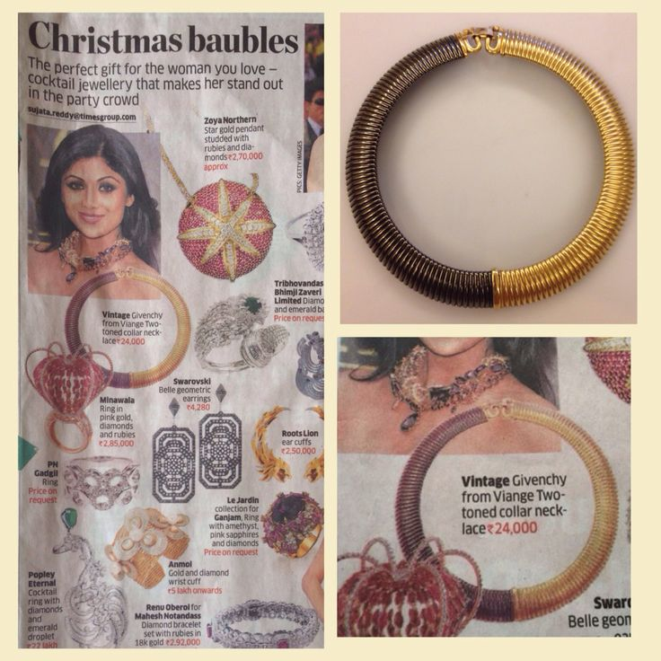 This gorgeous vintage Givenchy two toned collar necklace from Viange featured in the Economic Times- Indulge newspaper! ❤️