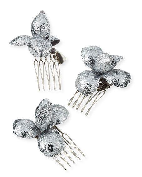 GIGI BURRIS ALCHEMIA FLORAL HAIR COMBS, SILVER, BOXED SET OF THREE. #gigiburris #