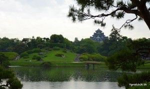 Korakuen garden with view to Okayama castle
