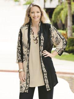 Bamboo Batik Jacket - View All Tops - Tops - Ulla Popken - Beautiful Plus Size Womens Clothing