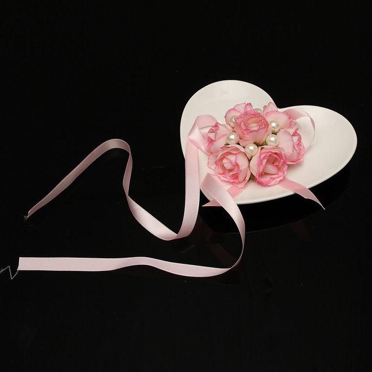 Bridemaid Silk Rose Flower Pearl Bracelet Wrist Corsage Wedding Party Bridal Accessories.