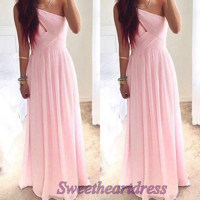 Prom dress 2016, Pink chiffon one-shoulder senior prom dress sweetheartdress.s... #coniefox #2016prom