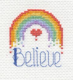 "Bucilla ® Counted Cross Stitch - Beginner Stitchery - Mini - Believe    Size: 2"" x 2"""
