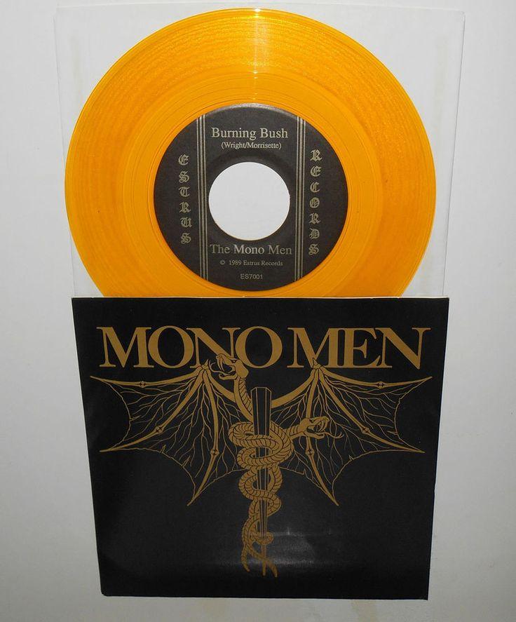 "the MONO MEN burning bush , rat fink 7"" YELLOW Vinyl Record 1989 Estrus records #GarageRockPunkNewWave"