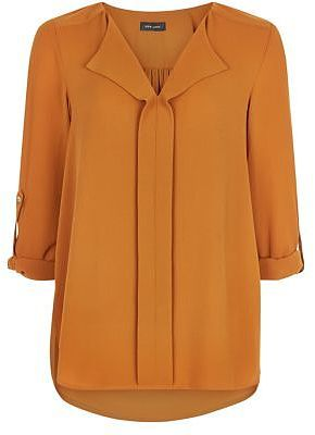 Womens windsor tan tan pleat front v neck shirt from New Look - £19.99 at ClothingByColour.com