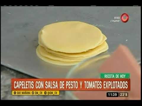 Receta de hoy: Capeletis con salsa de pesto y tomates explotados