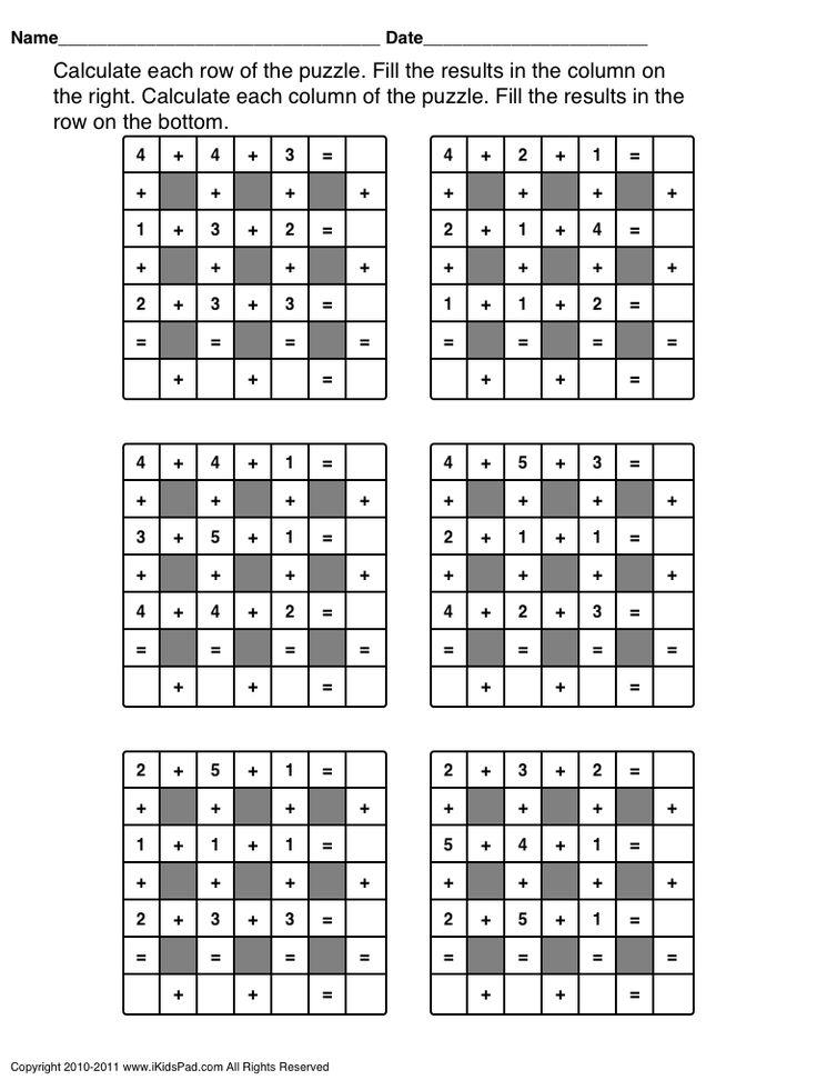 math worksheet : 11 best schooling for kids images on pinterest  teaching ideas  : Addition Column Crossword