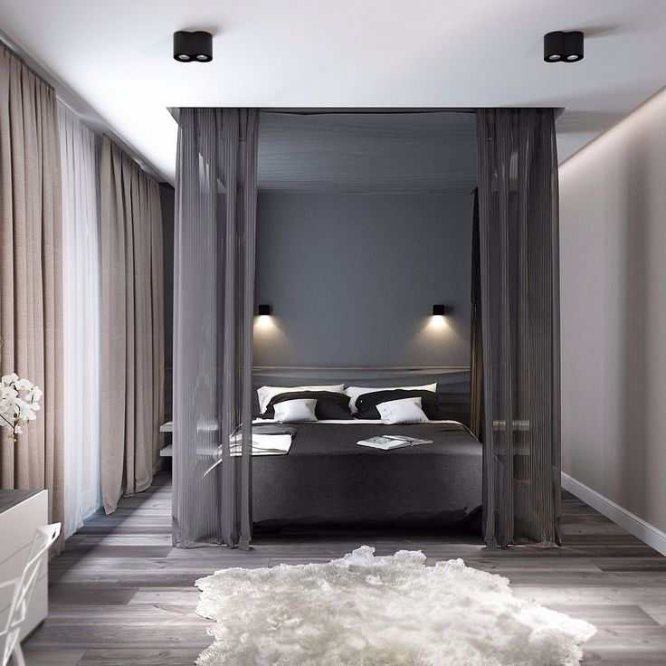 Спальня в тёмных тонах - дизайн интерьера: фото идеи