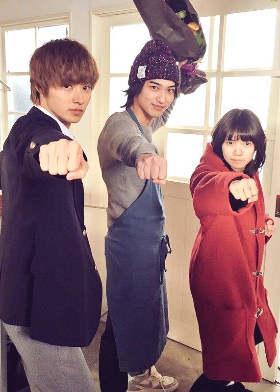 "Kento x Ryusei Yokohama x Fumi, J LA movie ""Ookami shoujo to kuro ouji (Wolf girl n black prince)"". Release: May/28/16"