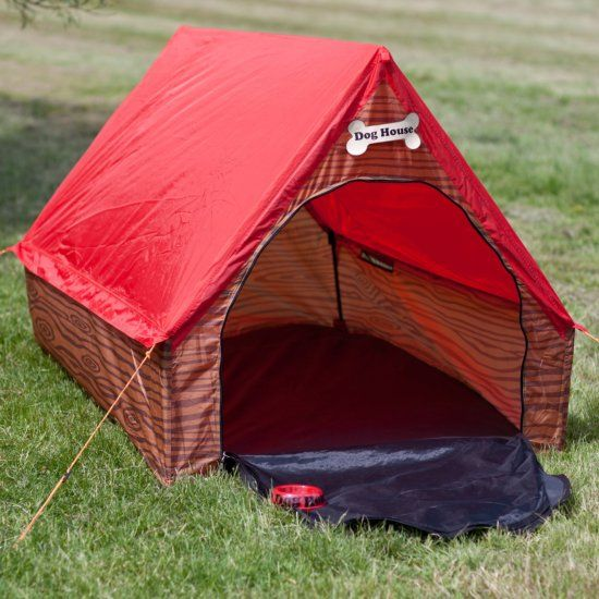 """Hilarious! So now he can not only be put in the """"dog house"""" - he will have to build it first as well! This excellent quality two man Dog House Tent is bound to cause hilarity whenever it is erected."""