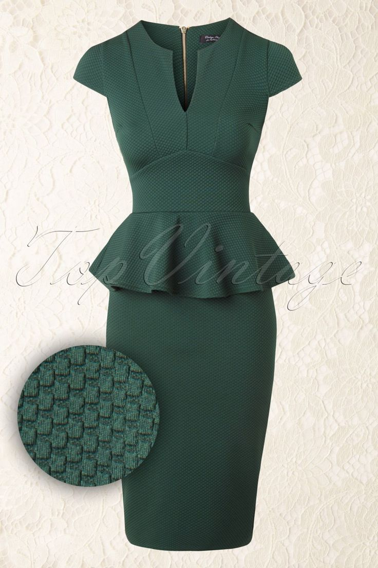 50s Carese Peplum Dress in Green | Shopstars.nl