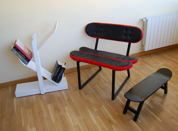 Skateboard chair, Skateboard furniture. DIY, alte Decks, Gewindestangen und  fertig! (
