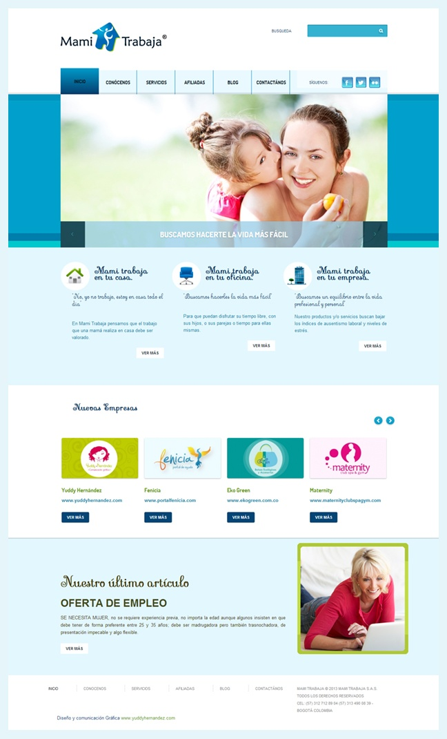 Diseño web Mami trabaja http://www.yuddyhernandez.com/portafolio/html/mami-trabaja.html