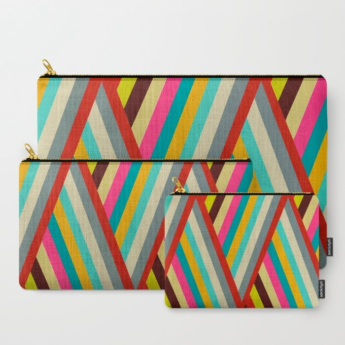 """""""Razzle' zip cases by artist Bri Buckley. Each purchase supports the artist. Available in 3 sizes, individually or in a set. These lovely stripes are also available on other products including duvet covers, shower curtains, tote bags, pillows, and throw blankets."""