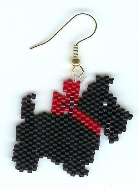 Hermosa mano cuentas Scottie perro negro pendientes de lazo rojo