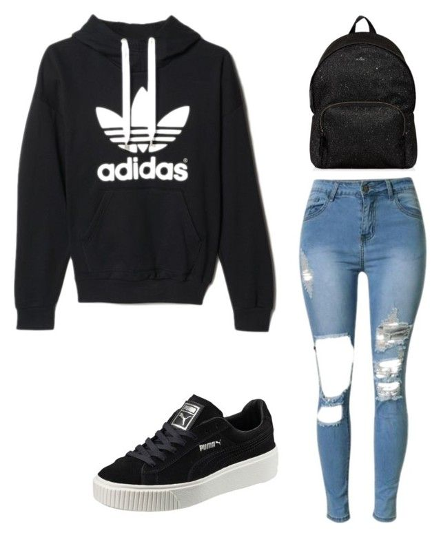"""Untitled #8"" by raven-blackk on Polyvore featuring adidas, Puma and Hogan"