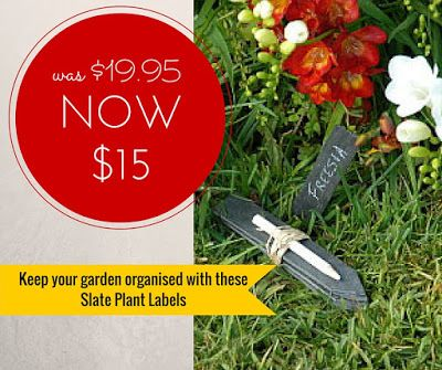 Slate Plant Labels NOW $15 (were $19.95) - you'll be the most organised gardener in your neighbourhood with these smart plant labels. #plantlabels #gardengifts #giftsforgardeners