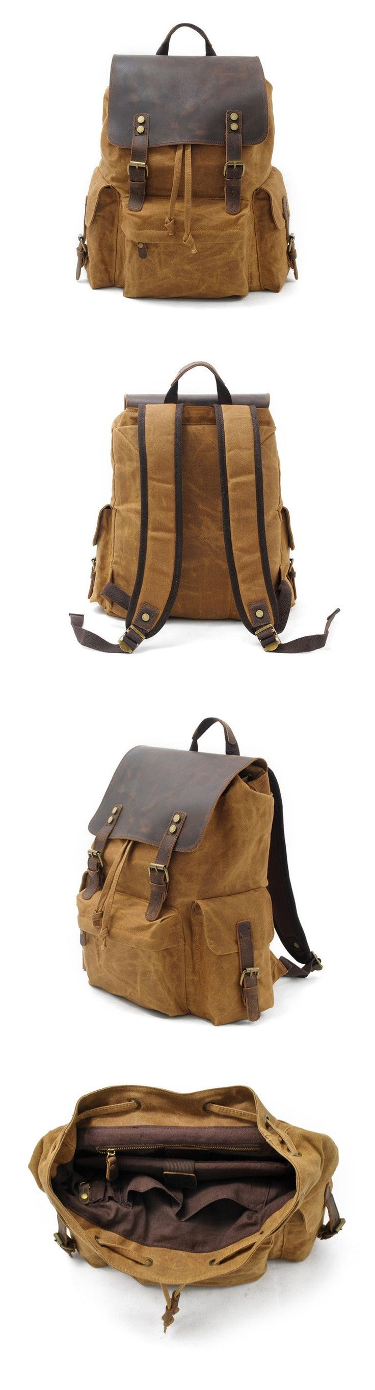 Waxed Canvas Leather Backpack Rucksack School Backpack Hiking Travel Backpack