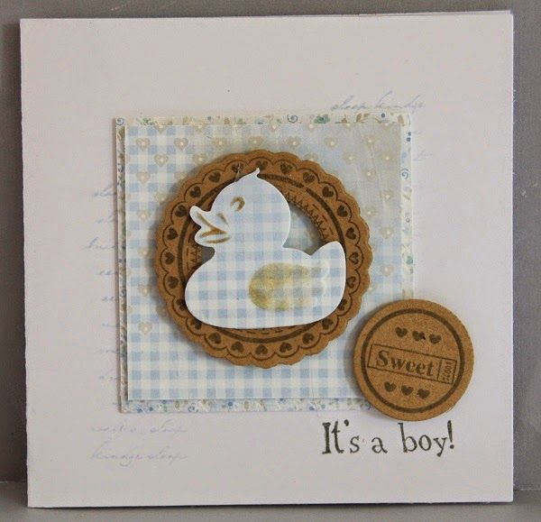 Card made by DT member Neline with Collectables Scallop Die and Sentiment (COL1321) and Creatables Rubber Duck (LR0333) by Marianne Design