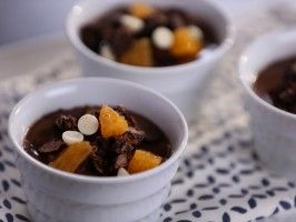 Chocolate-Orange Yogurt Panna Cotta with Chocolate-Coconut Granola from CookingChannelTV.com