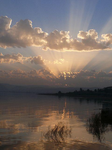 Pôr do sol, mar de Gallilee - Israel