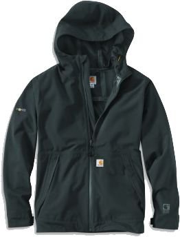 Carhartt rain jacket goes from job-site to trail without breaking a sweat.