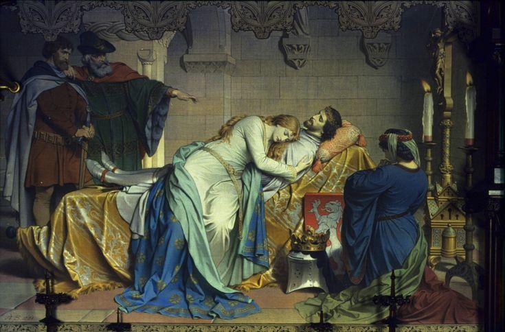 August Spiess. Muerte de Isolda. 1883. Castillo de Neuschwanstein