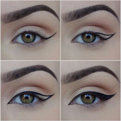 Winged eyeliner how to, including a bit of a cat eye in the inner corner. Love it. Pinterest: heyitslalita http://fancytemplestore.com