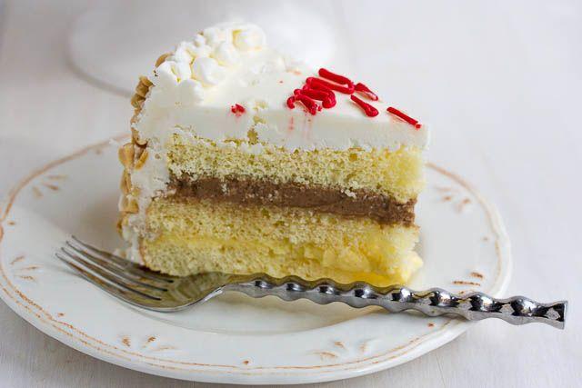Italian rum cake - my favorite cake in the world. So Darn Good. Rum, sugar, nuts, frosting plus cake and cream? Dreamy