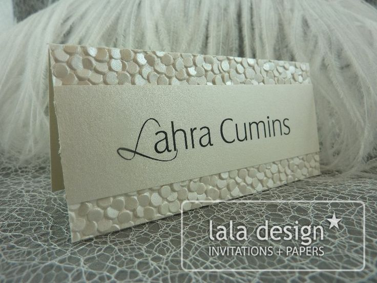 Shimmery gold place card