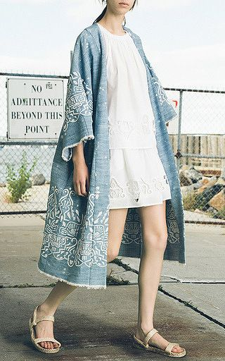 Sea - Embroidered Hand Bleach Denim Kimono
