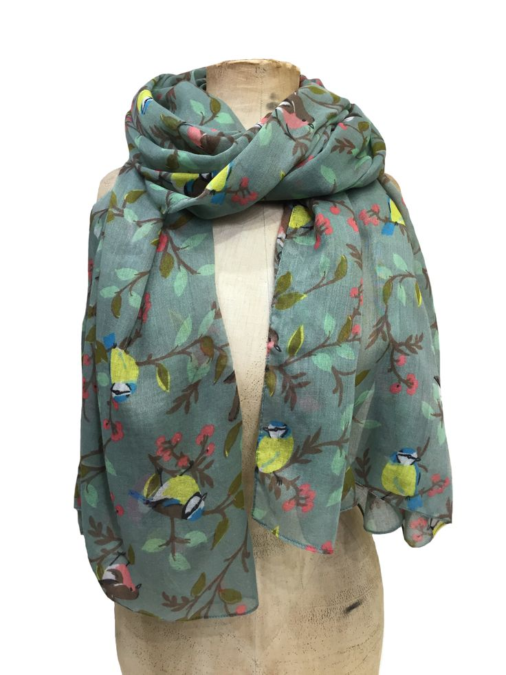 Hem&Edge garden birds scarf #green #multi 100%viscose 80x180cm #gorgeousgreens #scarf #accessories #onebutton #hemandedge Click to see more products from the One Button shop.