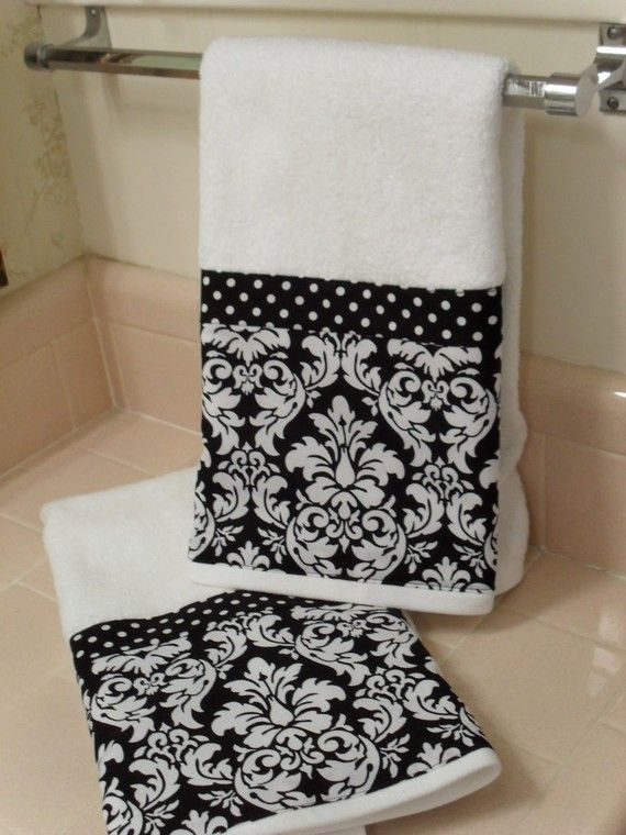 Set of TWO new thick white hand towels for the bathroom, decorated with a black and white damask fabric. The Towels measure 16 by 30 inches. The