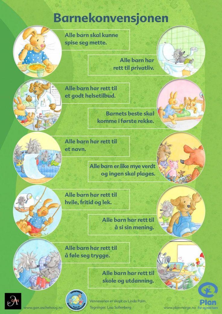 Plakat som viser FNs barnekonvensjon