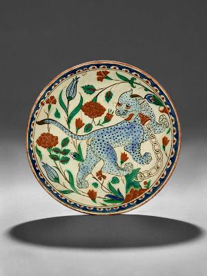 "Polychrome Underglaze Painted ""Leopard"" Dish , Ottoman, Iznik, 17th century"