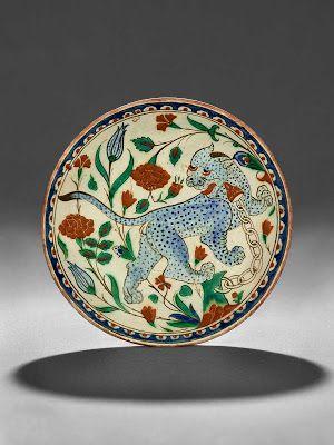 "Polychrome Underglaze Painted ""Leopard"" Dish (Figural), Ottoman, Turkey (Iznik), 17th century"