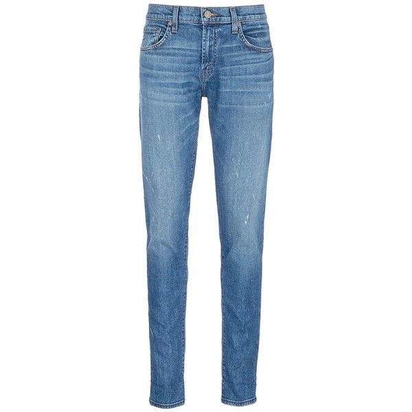 J Brand 'Tyler Taper' distressed denim jeans (£185) ❤ liked on Polyvore featuring men's fashion, men's clothing, men's jeans, blue, mens blue jeans, mens distressed denim jeans, mens slim fit tapered jeans, j brand mens jeans and mens tapered jeans