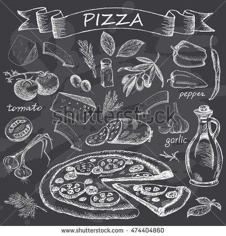 Pizza on chalk board