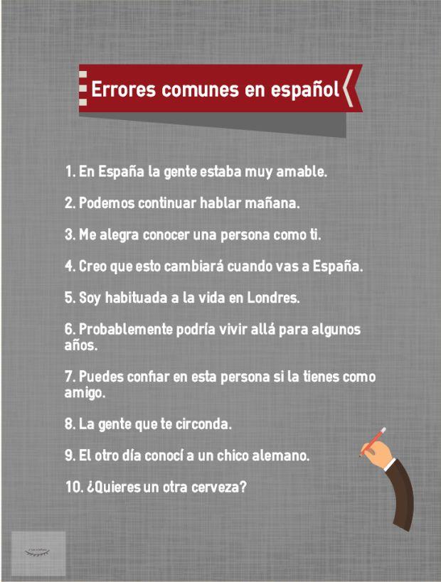 Errores comunes en español II