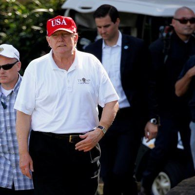 """Trump May Have Violated the Law By Reportedly Putting Presidential Seal on Golf Tee Markers: Putting the presidential seal on tees holds more legal weight than selling hats with """"Make America Great Again"""" on them—in fact, it might be illegal. Federal law states that the seal of the president can only be used for official government affairs, ProPublica reports, and using the seal incorrectly could carry the penalty of up to six months in jail, The Hill reported Monday."""